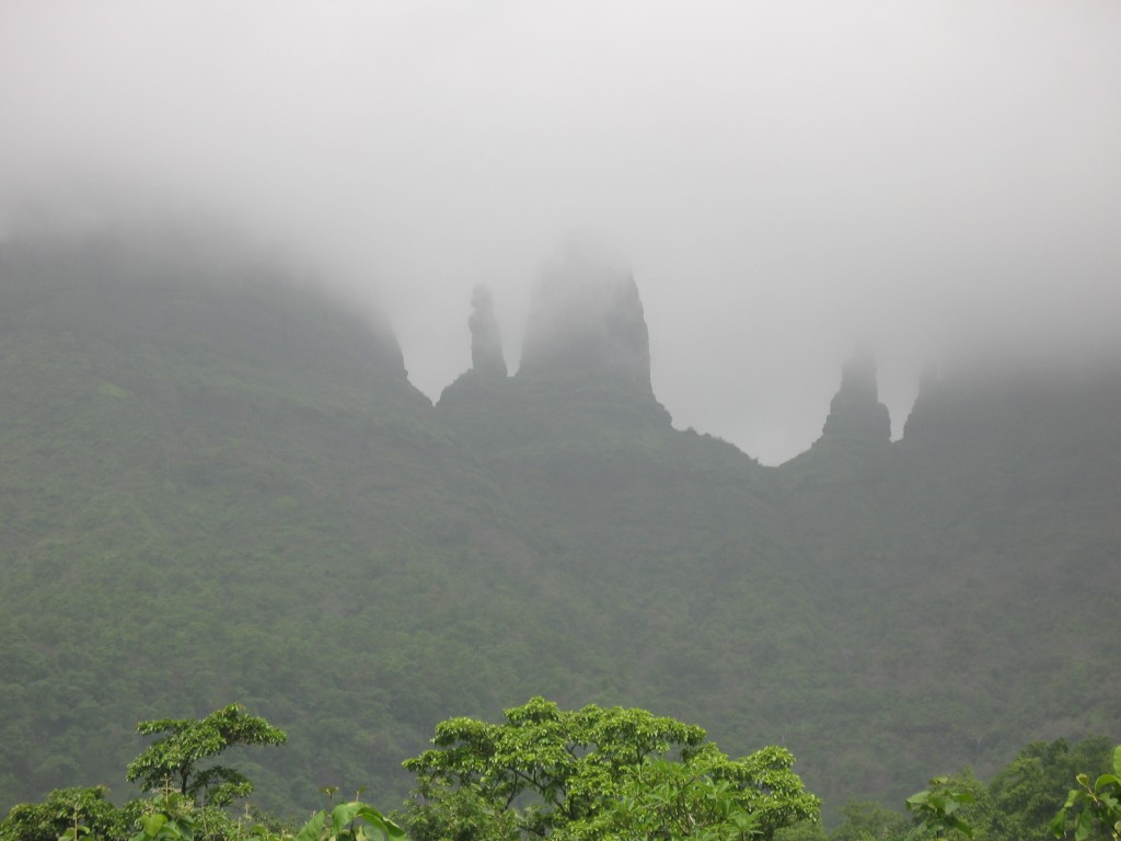 Pinnacles covered by the clouds