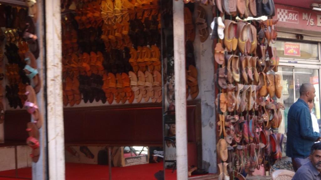 One more shop displaying Kolhapuri Chappals